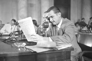 Howard Hughes Testifying During Senate Investigation
