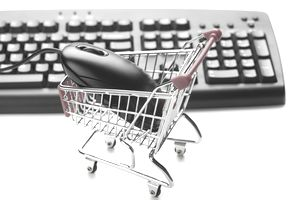 Shopping cart with a computer mouse inside