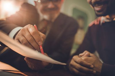 Signing contract for a small business loan