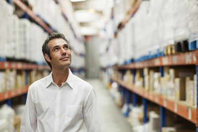 Sales agent in warehouse