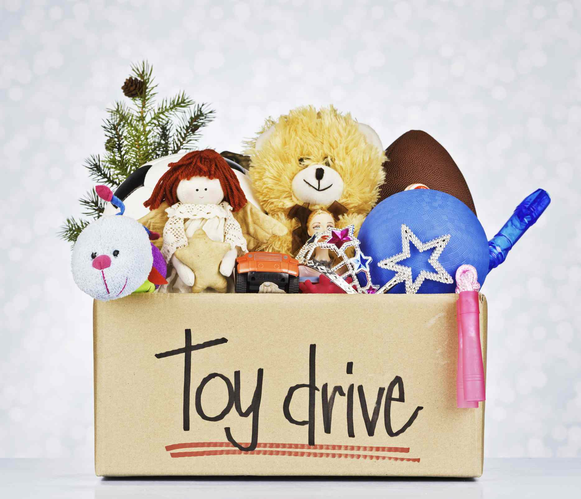 Christmas gifts in a toy drive box