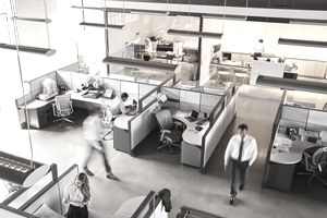 Elevated view of a busy open plan office space.