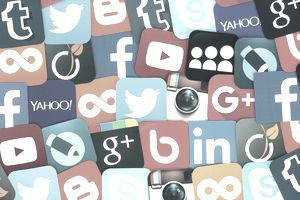 Collage of various social media network icons