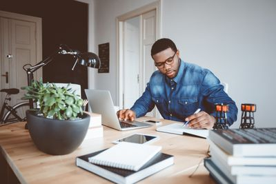 Freelance writer working at home office