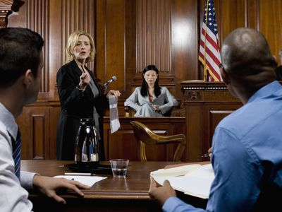 Lawyer presenting evidence in a courtroom