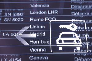 Airport sign with flights and rental car image