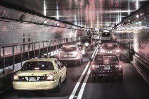 Traffic traveling through Holland Tunnel