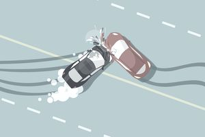 Top view of a two car collision involving a hired vehicle.