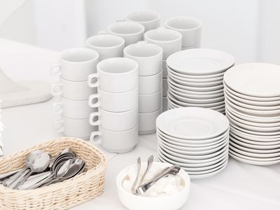 Group of empty coffee cups. White cup for service tea or coffee in breakfast or buffet and seminar event.