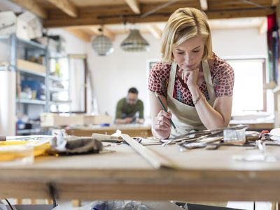 A woman working in a workshop