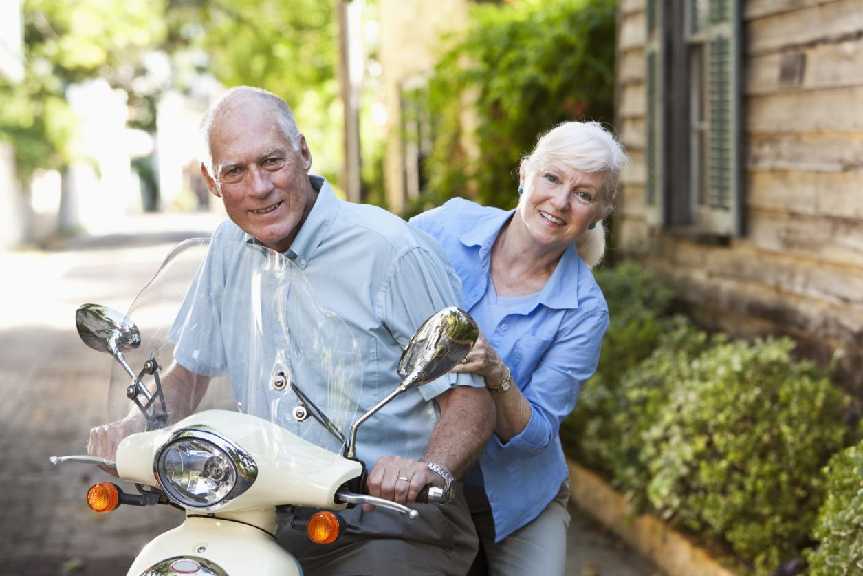 Seniors on a scooter