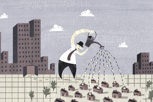 Cartoon of a man using a watering can to pour money into a development project.