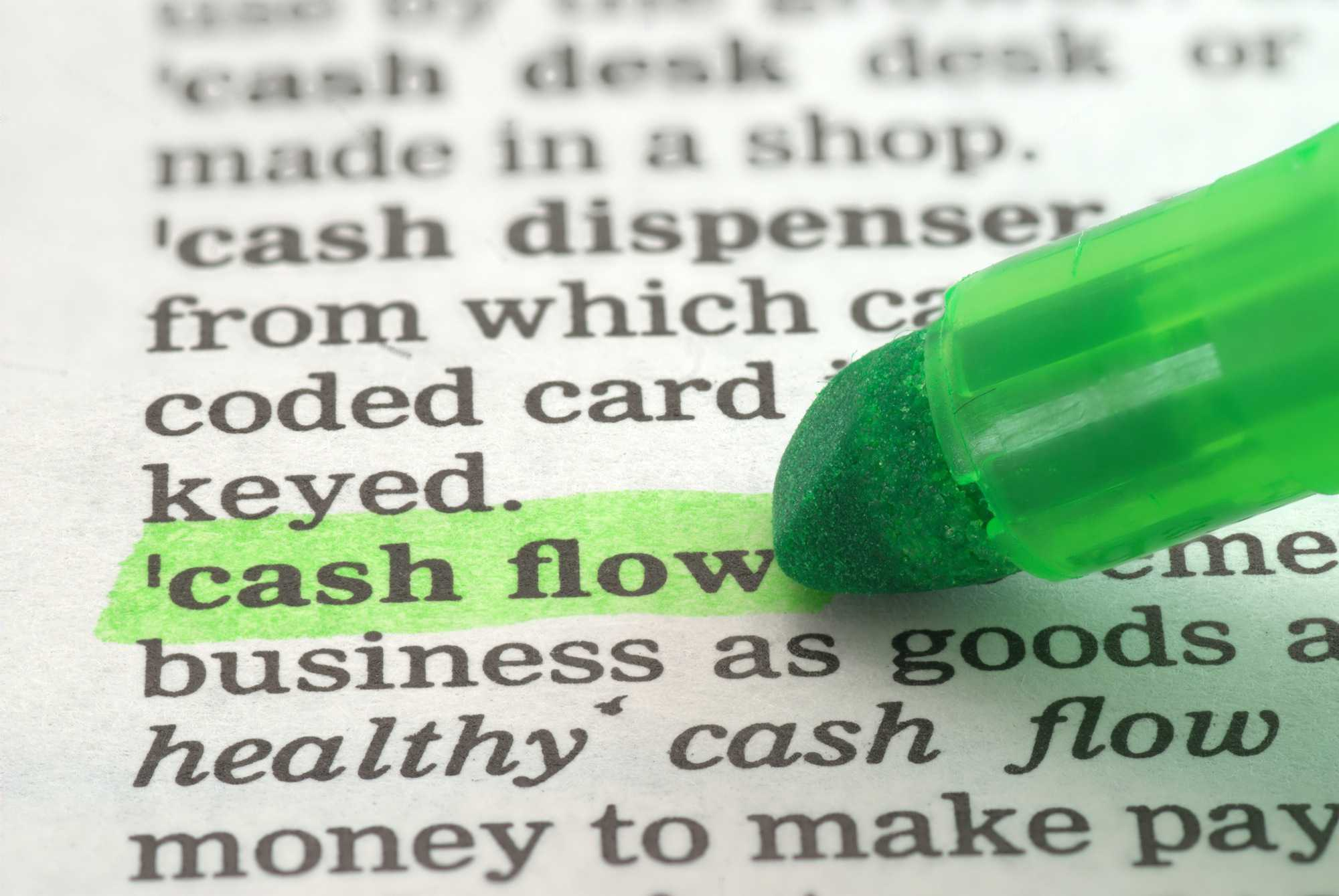 Cash flow highlighted in dictionary