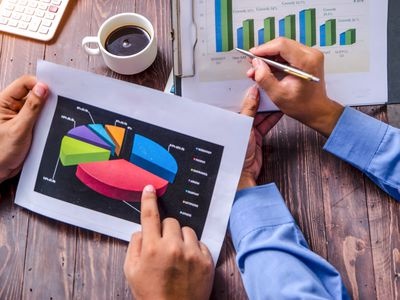 Men looking at charts show gross and contribution margins