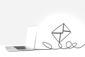 Laptop with its cord shaped into a kite, representing sending an email to an editor.