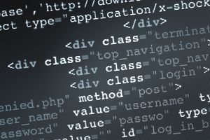 Close up of HTML Code