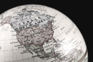 Vintage style globe showing North America