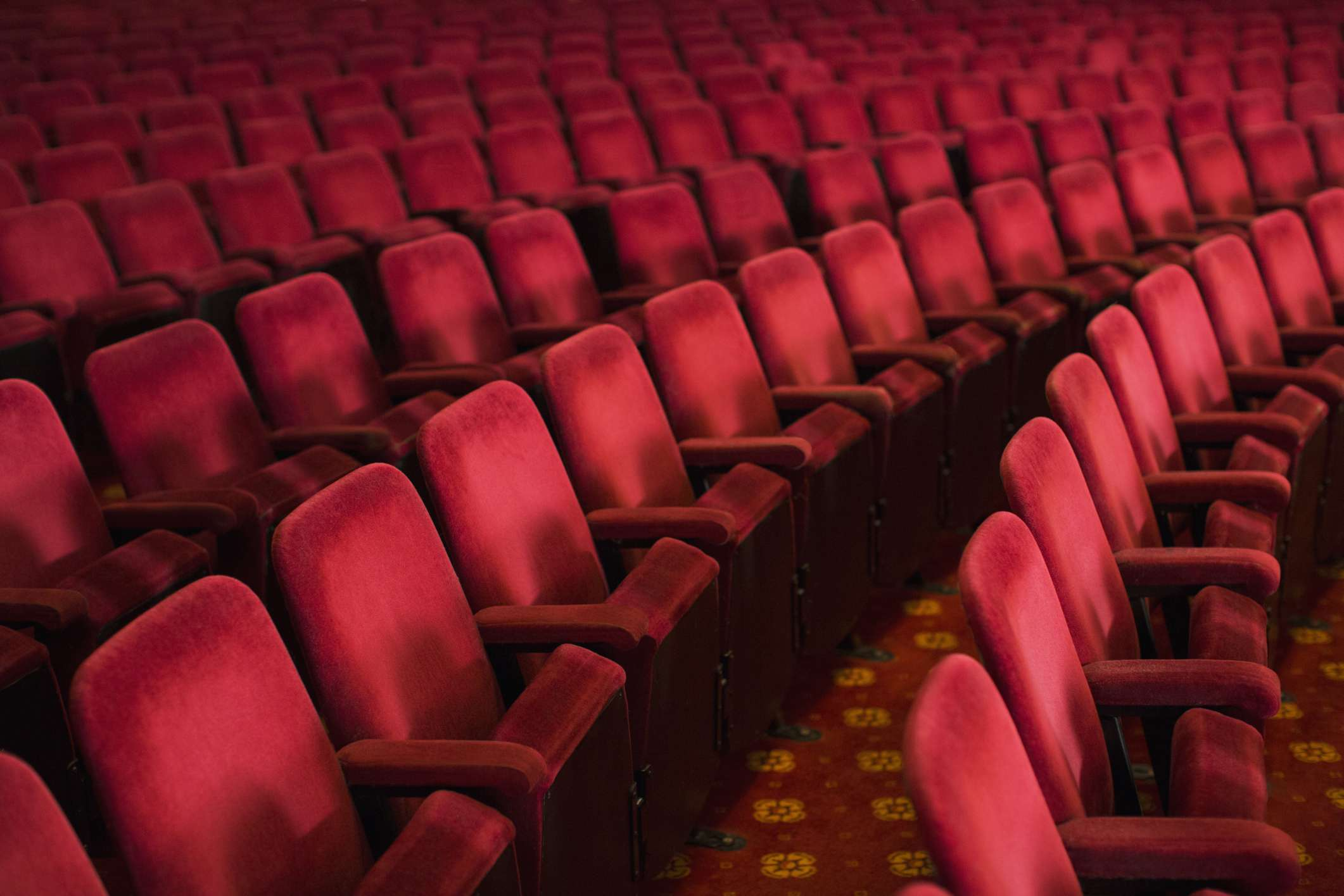 Rows of empty seats at a conference center