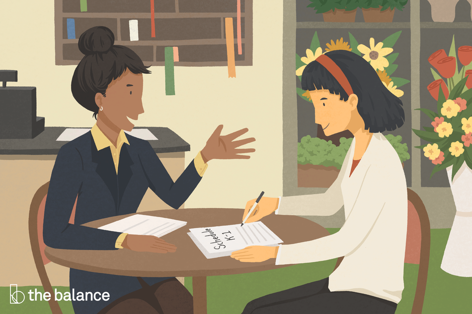 Image shows two women sitting in a flower shop; one of them is filling out a Schedule K-1 and the other is advising.