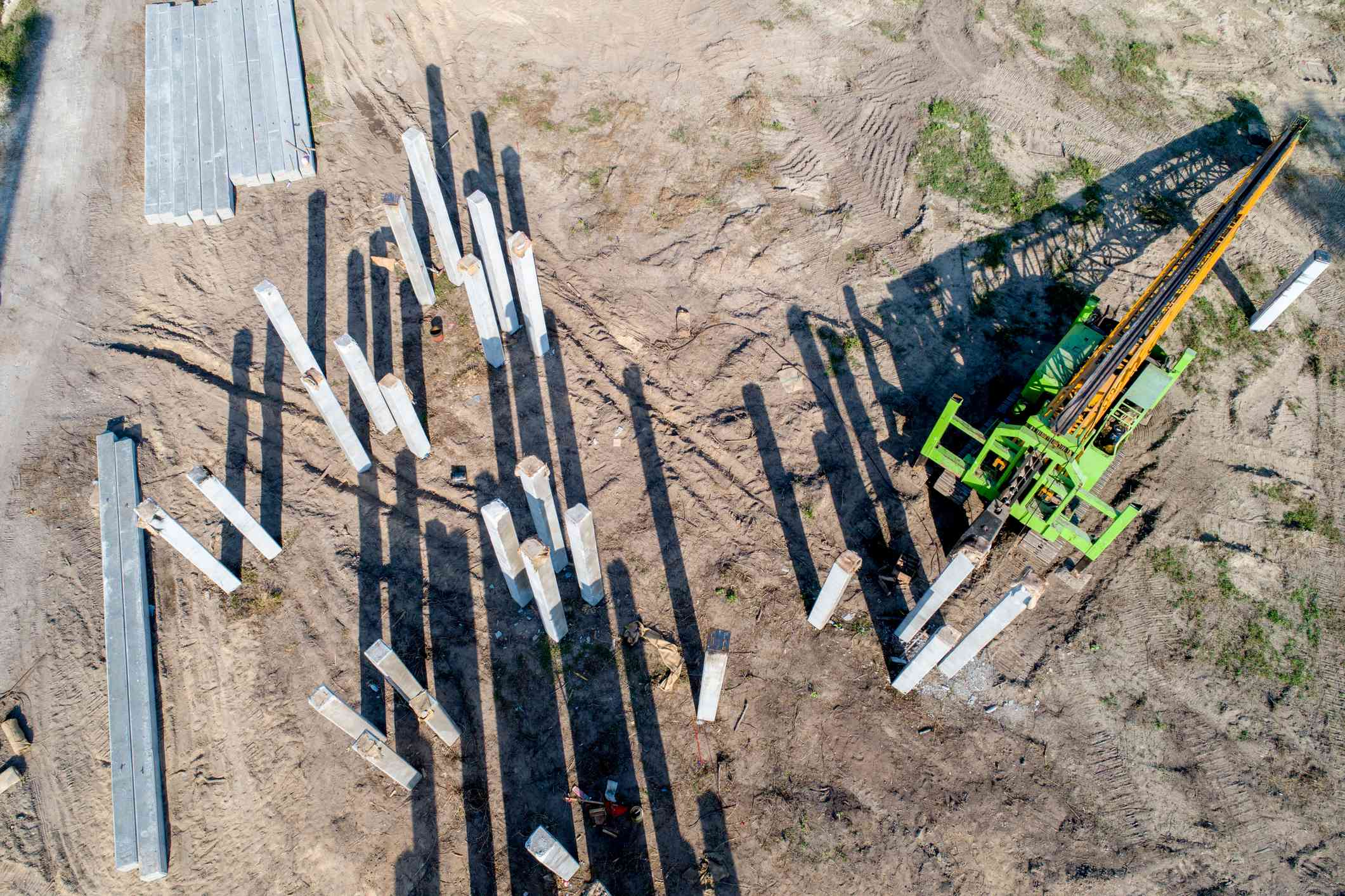 Aerial view Pile driving work at construction site
