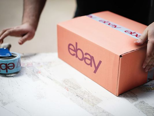 An eBay delivery parcel is prepared for shipping at an eBay seller warehouse