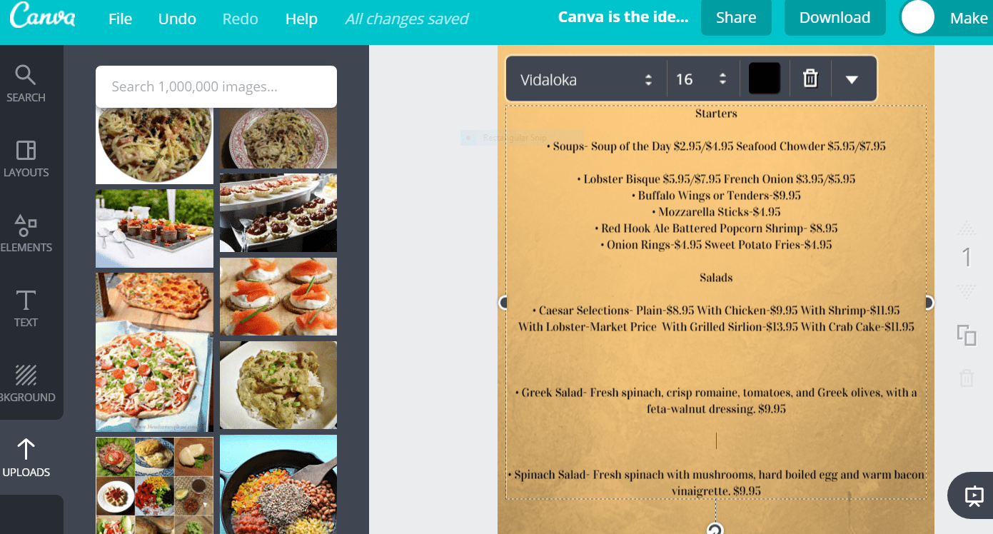 Screenshot of menu text on a background in Canva.