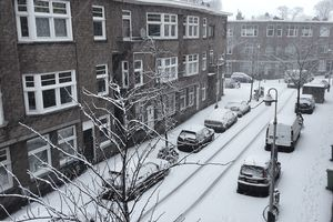 High Angle View Of Cars On Street In Winter