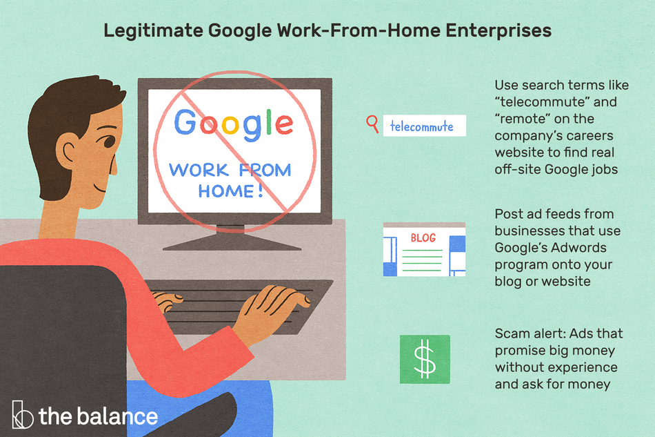 "Image shows a man sitting at a desk looking up ""google work from home"". Text reads: ""Legitimate google work-from-home enterprises: use search terms like 'telecommute' and 'remote' on the company's careers website to find real off-site google jobs. Post ad feeds from businesses that use google's adwords program onto your blog or website; scam alert: ads that promise big money without experience and ask for money"""
