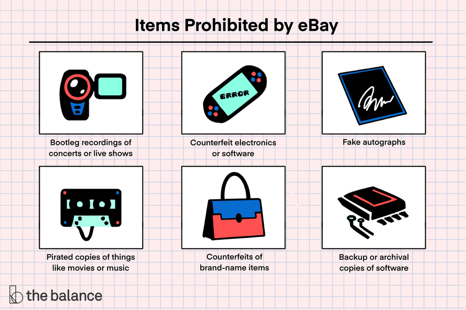 "Image shows a watch, a broken nintendo, an autograph, a cassette, a purse, and a harddrive. Text reads: ""Items prohibited by ebay: bootleg recordings of concerts or live shows; counterfeit electronics or software; fake autographs; pirated copies of things like movies or music; counterfeits of brand-name items; backup or archival copies of software"""