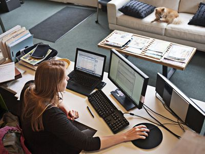 Overview of woman in her home office setting