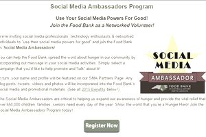 The social media ambassadors page at a food bank.