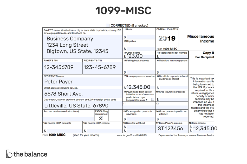 This illustration shows a 1099-MISC form for tax year 2019.