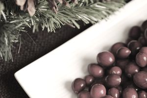 Festive holiday plate with cranberries