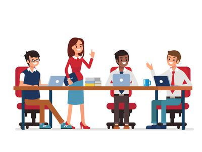 Office workers sitting or standing at a table.