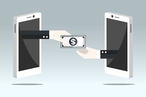 Money being exchanged from one smartphone to another