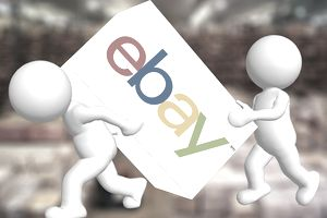 two bubble characters carrying a box with eBay logo