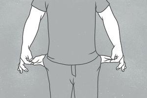 Illustration of man showing empty pockets representing bankruptcy