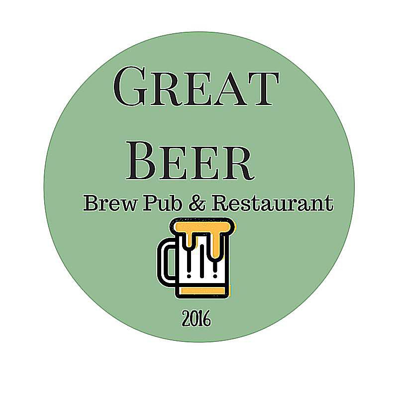 Logo for Great Beer Brew Pub & Restaurant created in Canva.