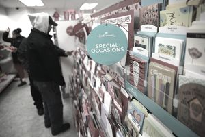 close up photo of display of valentine's day greeting cards in the special occasions section in a hallmark store