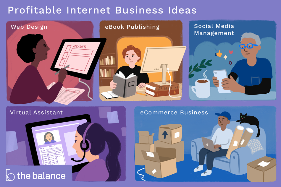 "Title reads: ""Profitable internet business ideas."" Image shows 5 scenarios and corresponding business ideas. 1) ""Web design""- A woman sitting at a computer and working on an illustration. 2) ""eBook publishing"": A woman sitting at a computer and reading through a few books. 3) ""Social media management"": A man sitting at a table on his phone with a cup of hot coffee in front of him. 4) ""Virtual assistant"": A woman with a headset online looking at someone's profile. 5) ""eCommerce Business"": A man sitting on his couch with a black cat and boxes all around him. He is working on his computer."