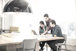 People working on project in conference room