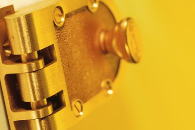 Deadbolt with yellow background