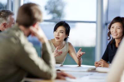 Members of a nonprofit board in a meeting.