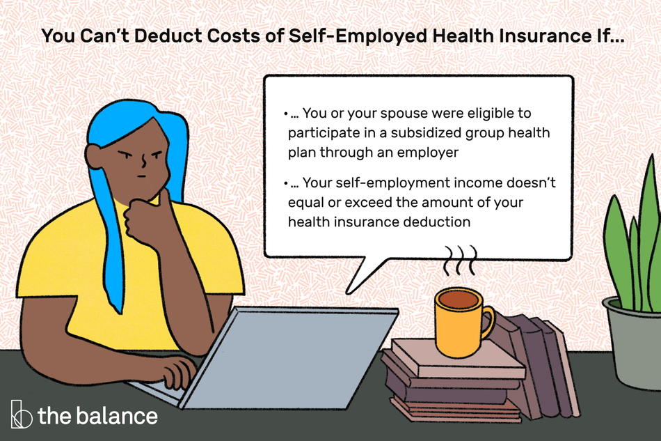 "Image shows a girl on her laptop looking frustrated. Beside her is a pile of books, a plant, and a cup of hot coffee. Text reads: ""You can't deduct costs of self-employed health insurance if...1) You or your spouse were eligible to participate in a subsidized group health plan through an employer 2) Your self-employment income doesn't equal or exceed the amount of your health insurance deduction"""