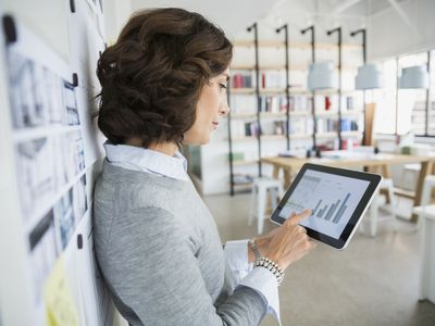 Businesswoman in shop working on tablet