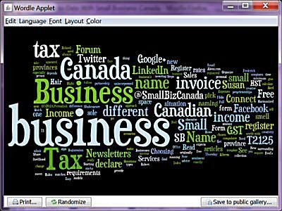 Wordle we created for my About Small Business Canada website.