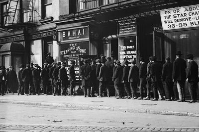 Bread line of unemployed people