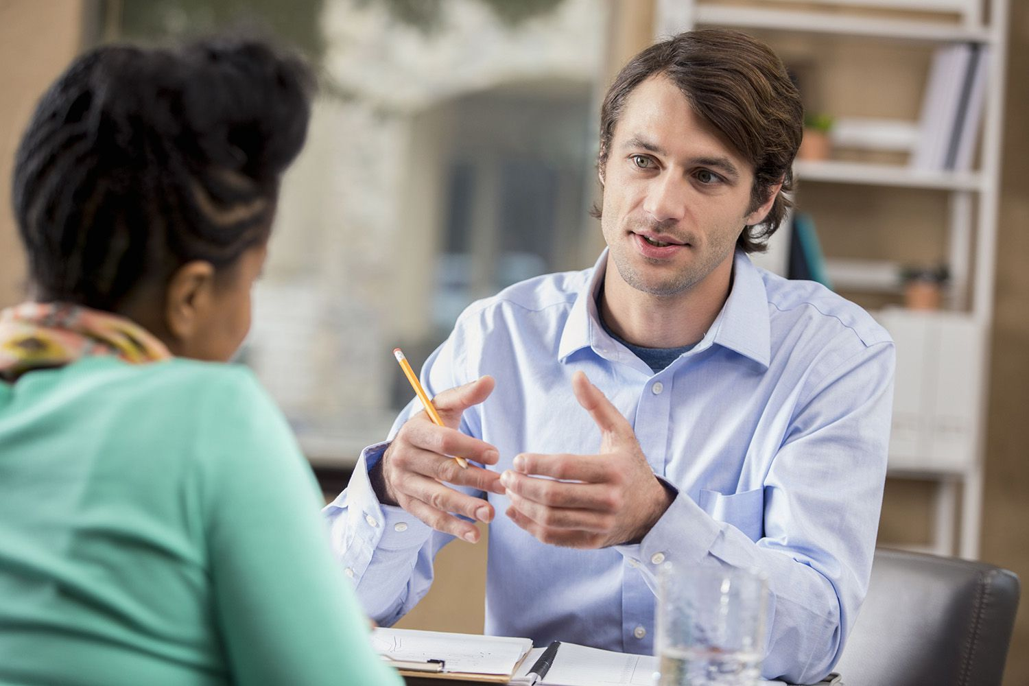 HR consultant interviewing a prospective employee.