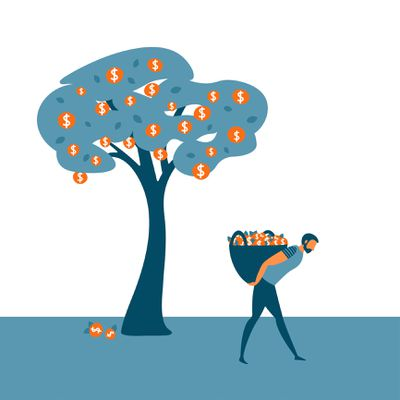 An Owner Taking a Draw From His Company Illustrated as a Man Hauling Away Fruit From a Tree
