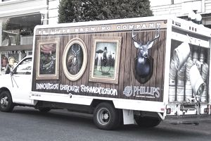 Advertising on the side of a truck